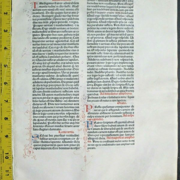Extremely rare incunabula,Breviary leaf on vellum,handpt.initials,Jenson,1478#9