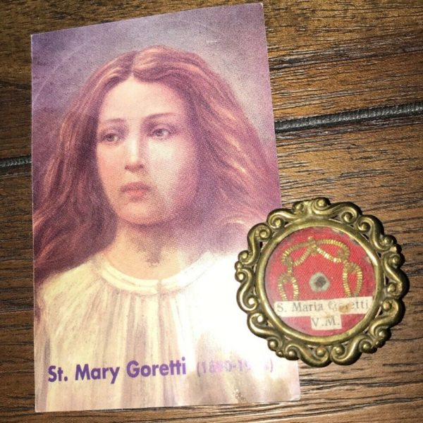 Authentic Antique Relic Of Saint Mary Goretti Virgin Martyr w/ Prayer Card, God