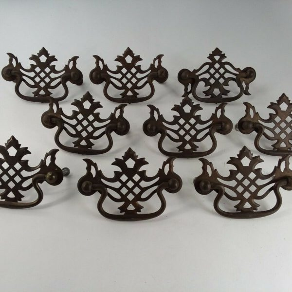 "Vtg Lot Set 9 CHIPPENDALE Drawer FURNITURE Pulls BRASS FINISH 3 1/8"" 3 3/4"""