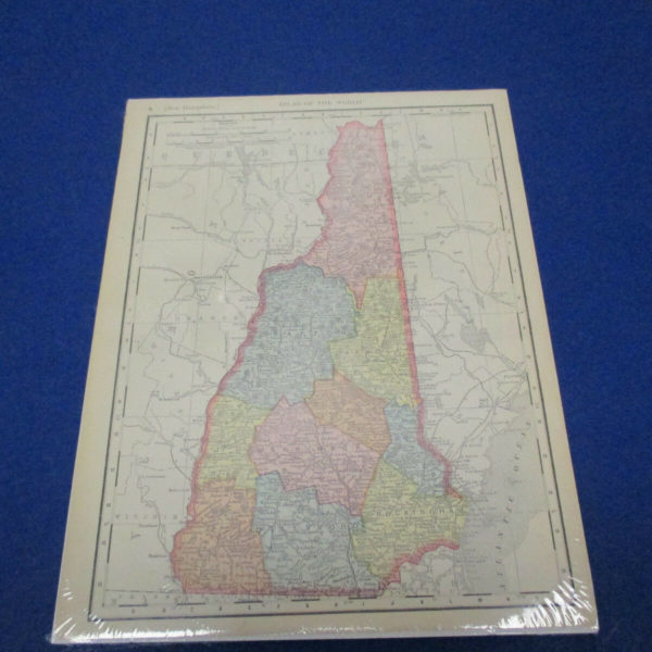 Rand McNally Atlas Map Page New Hampshire 1902  Nice Color, Suitable To Frame