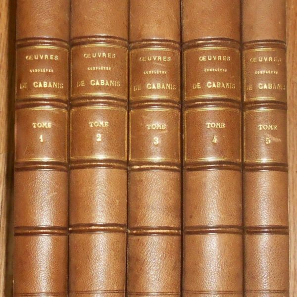 1823 Antique Medical Book 5 Vol Oeuvres completes de Cabanis leather binding set