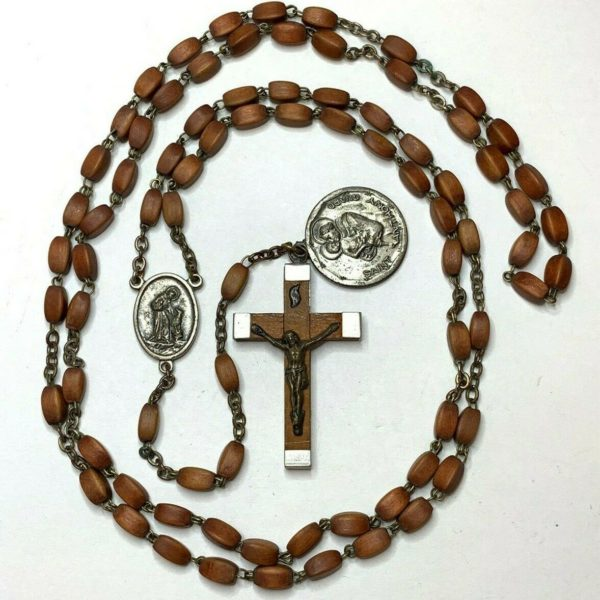 """† VINTAGE 7 DECADE XL FRANCISCAN WOOD ROSARY & ANTHONY MEDAL 41"""" RELIC CROSS †"""