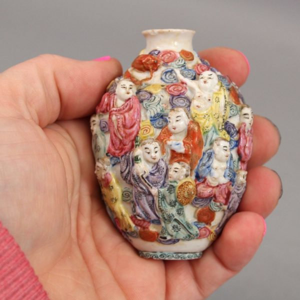 Antique 18thC Qing Signed Qianlong, 18 Luohan Monks, Porcelain Snuff Bottle