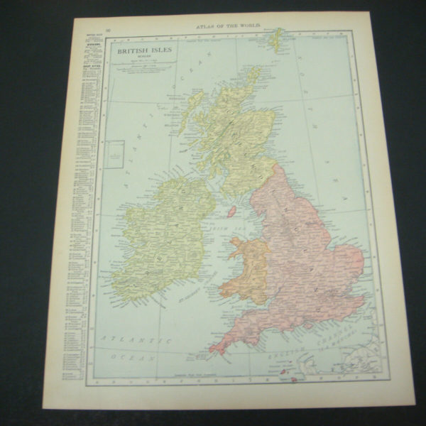 1914 Rand McNally Atlas Map Page British Isles / Europe Color Suitable To Frame