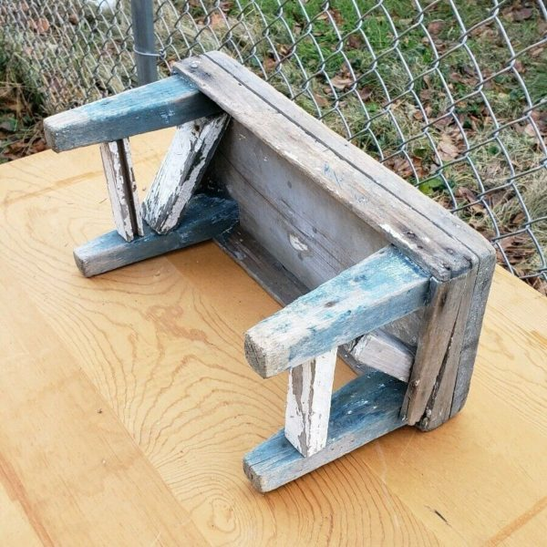 Antique Primitive Wooden Step Stool Country Rustic Farmhouse Vintage Barn Find