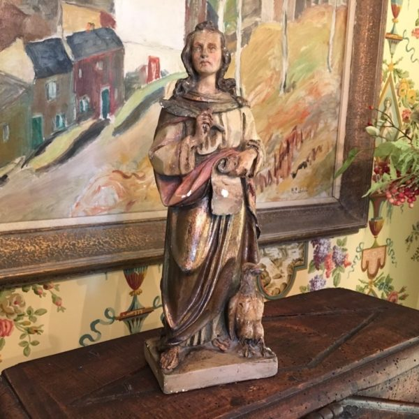 Saint John English Chalkware Statue 19th Century