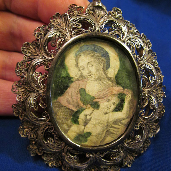 *18th C Silver Filigree Ornate Religious Theca Reliquary Pendant Hand Colored