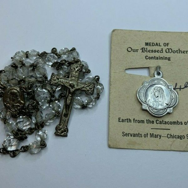 "† NUN'S ""OUR BLESSED MOTHER"" RELIC EARTH CATACOMBS MEDAL ON CARD TINY ROSARY †"