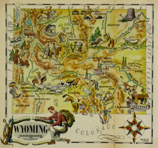 Wyoming Antique Vintage Pictorial Map