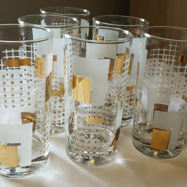 Mid Century Vintage, Mod, MCM Set of 6 Drinking Glasses, White Gold Bar Ware