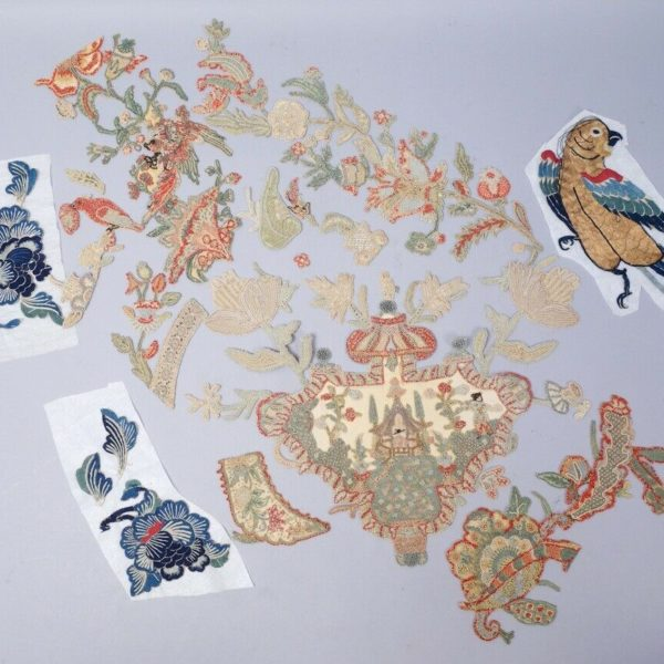 Antique Estate Found Group Chinese Embroidery Pieces incl Birds