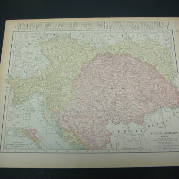 1914 Rand McNally Atlas Map Page Austria / German Empire Color Suitable To Frame