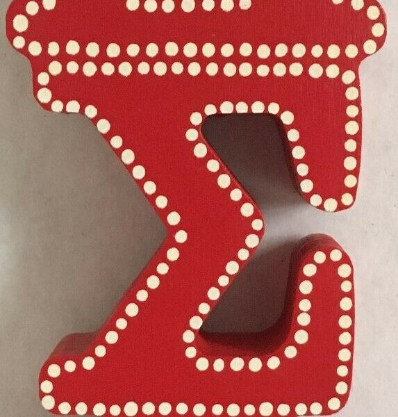 Delta Sigma Theta Wooden Greek Sorority Decorative Letters Red W/White Dots G1