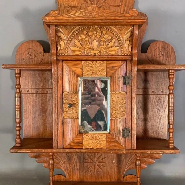 Antique ART NOUVEAU Era OAK Old FLOWER INLAY Hanging WALL CURIO Shelf CABINET