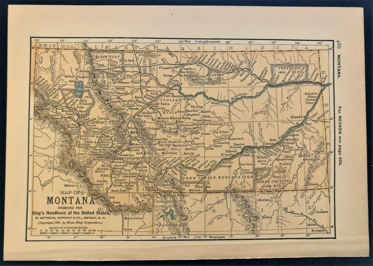 Authentic 1891 Color Map ~ State of MONTANA ~ Great Detail ~ Original ~ RARE