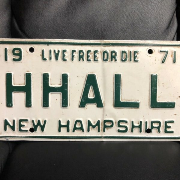 NH License Plate Vanity Antique 1971 HHALL Hall Name New Hampshire College Hall