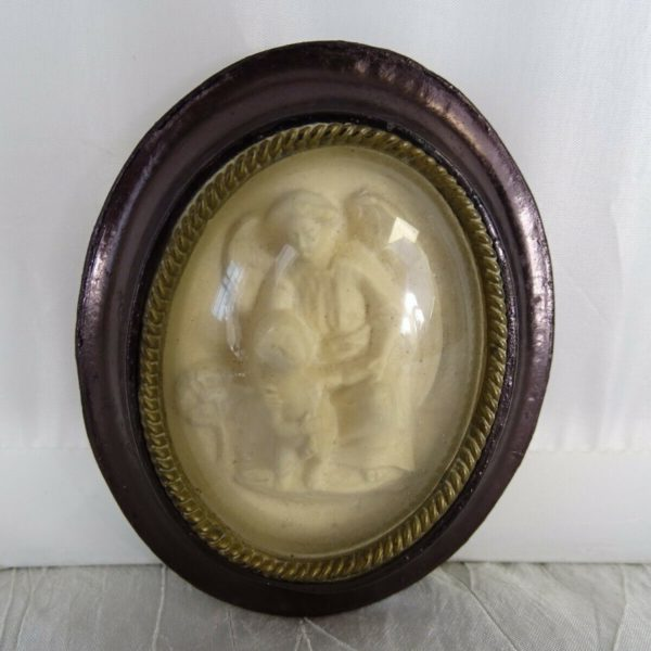 Antique French Carved Meerschaum Religious Reliquary 19h Angel