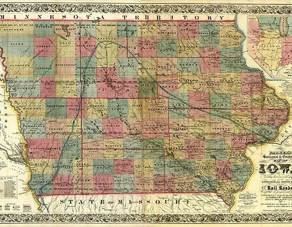 Sectional & geological map of Iowa c1856 36x24
