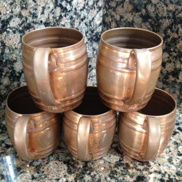Kewasrum Old Colony Anacanda Copper Mugs Cups Set Of 5 Cups Vintage