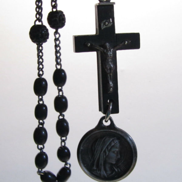 "† HTF INTERESTING LOURDES PILGRAMGE VINTAGE ROSARY W/ DROP MEDAL OFF CROSS 25"" †"