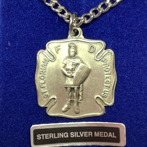 † BLESSED OLD STOCK VINTAGE STERLING ST FLORIAN PENDANT PROTECT FIRE FIGHTERS †