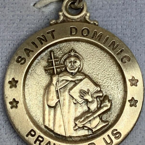 """† BLESSED OLD STOCK NIB STERLING """"ST DOMINIC"""" CHARM PENDANT MEDAL"""