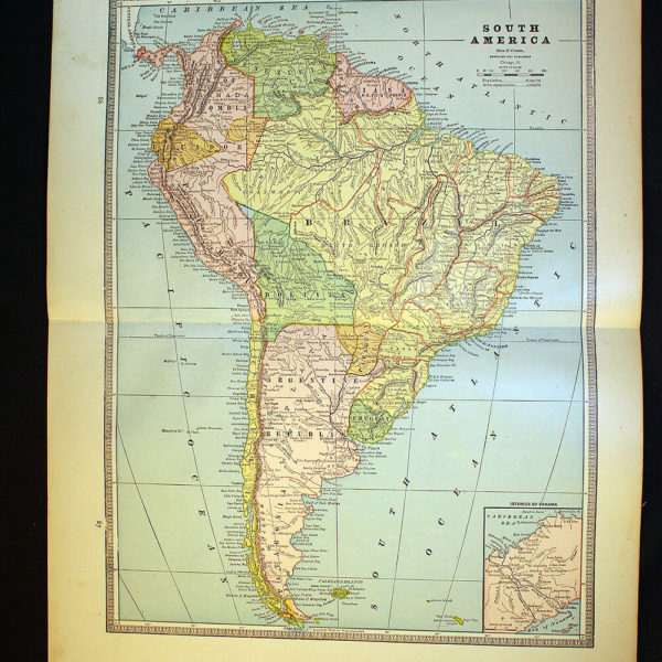 "Map 1886 South America 13½"" x 21"" or Mexico Central America Cuba"