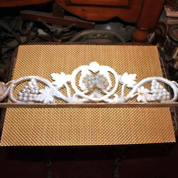 Cast Iron Architectural Accent Garden Piece Grapes Leaves Scrolls