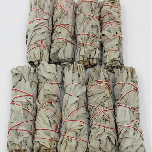 "Lot 9 White Sage Smudge Stick 4 - 5"" (House Cleansing Negativity, Smudge Bundle)"