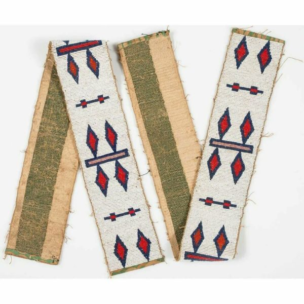 c1900 NATIVE AMERICAN PLAINS CREE INDIAN BEADED BLANKET STRIP WAR SHIRT STRIPS