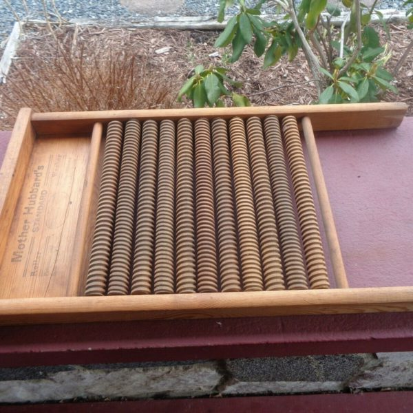 OLD Primitive Antique Mother Hubbard's Roller Washer Washboard Both Sides Marked