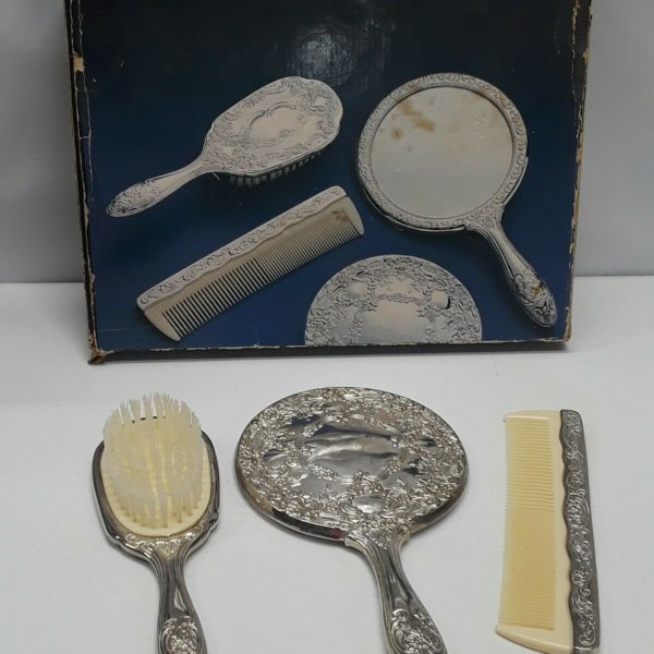 Vanity Set Silver Plated Hair Brush Comb Hand Mirror Vintage 3 Piece Set Antique