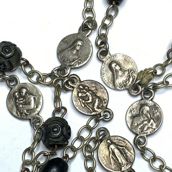 "† ANTIQUE ST CHRISTOPHER MEDAL & LOURDES CARVED BOVINE & MEDAL ROSARY 28 1/2"" †"