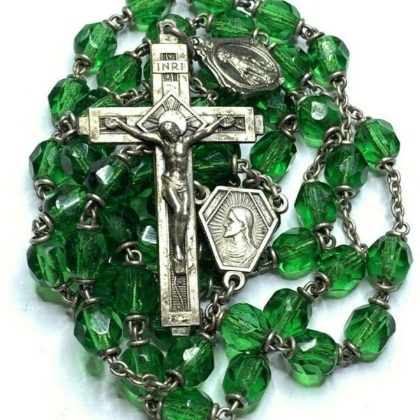 """† STUNNING VINTAGE BLESSED 800 SILVER GREEN GLASS ROSARY 22 1/2"""" WHEN BUY MEDAL†"""