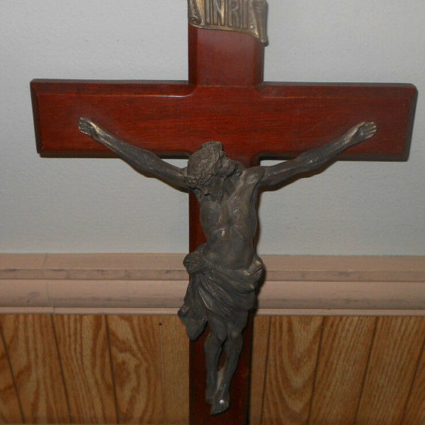 "Vintage Wood & Metal Crucifix 10.5"" x 20"""