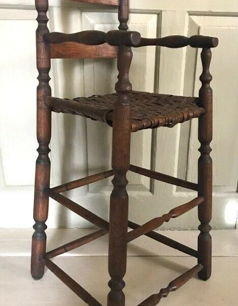 Rare Antique NEW ENGLAND SAUSAGE TURNED SLAT BACK HIGH CHAIR, c. 1720