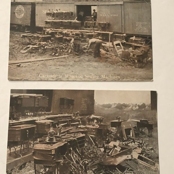 2-Early 1900's The Free Sewing Machine Wrecked Illinois RR Carloads Postcards