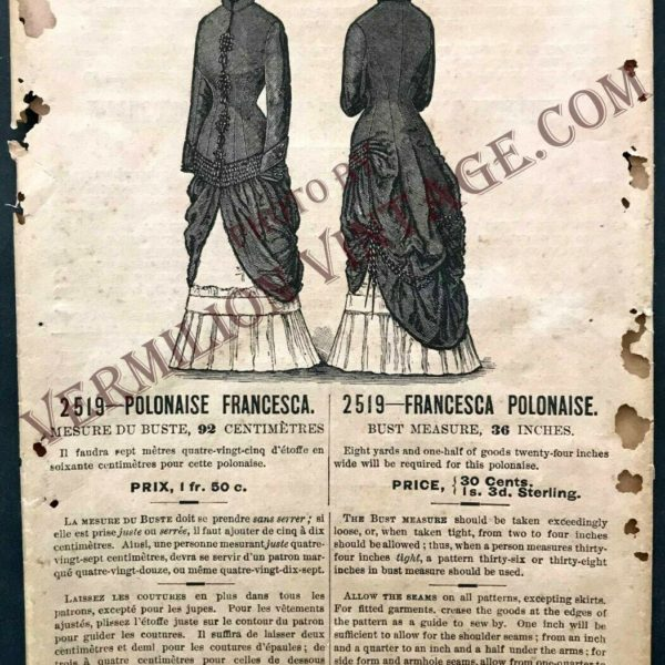 EXTREMELY RARE!  1884 Demorest ORIGINAL pattern, Francesca Polonaise, 1880's