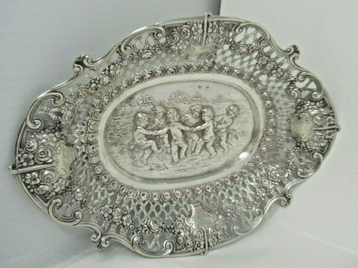 Silver 800 Oval Fruit Bowl Tray Figural Scene Cherubs Musical Instruments