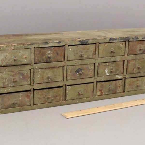Antique Circa 1900 Primitive Handmade Painted Wood Chest w/ 24 Tin Drawers
