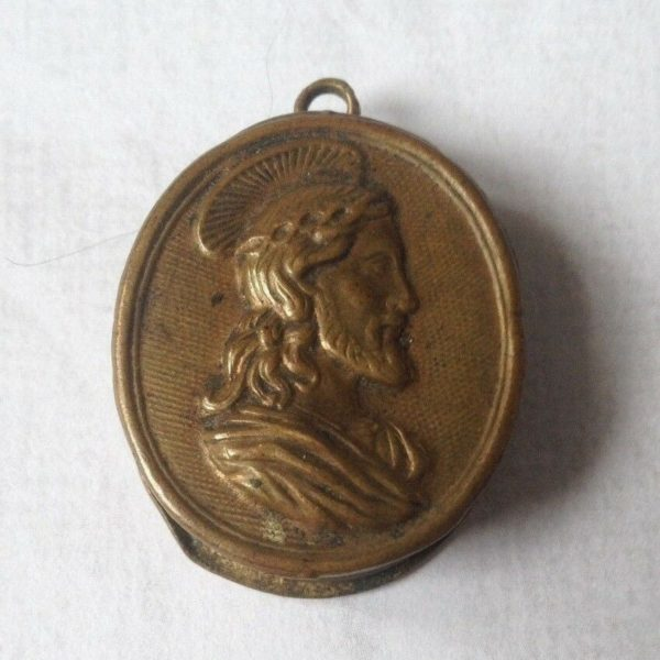 Fine Antique Brass Reliquary Case Pendant
