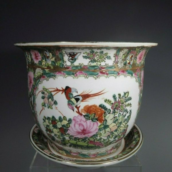China Chinese Canton Rose Enamel Porcelain Jardiniere & Under plate ca. 20th c.