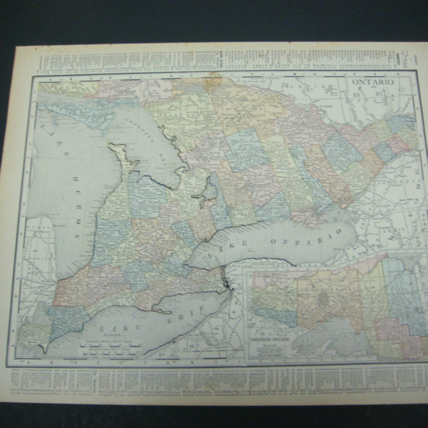 1914 Rand McNally Atlas Map Page Ontario / Quebec Canada Color Suitable To Frame