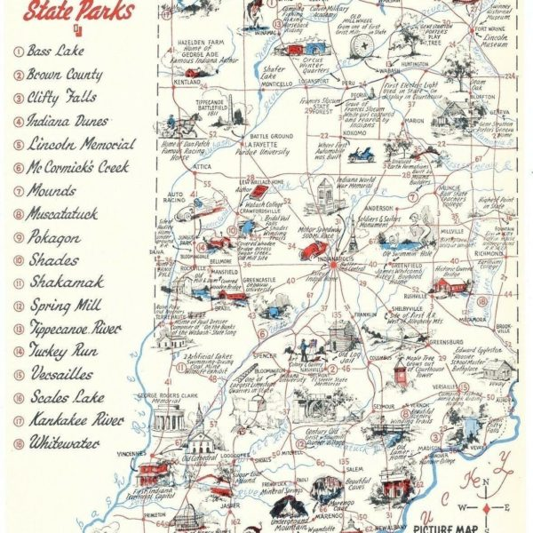 3 1952 Visit Indiana's State Parks Picture Map of Scenic Hoosierland Postcards