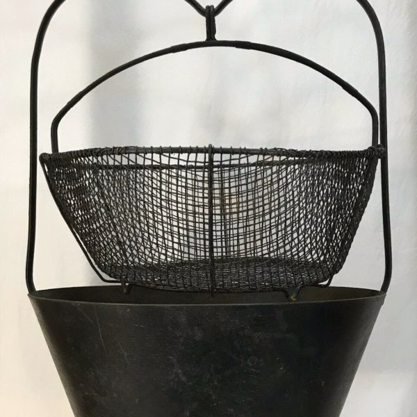 Antique Primitive Fireplace Hearth Deep Fat Fryer Kettle Cauldron