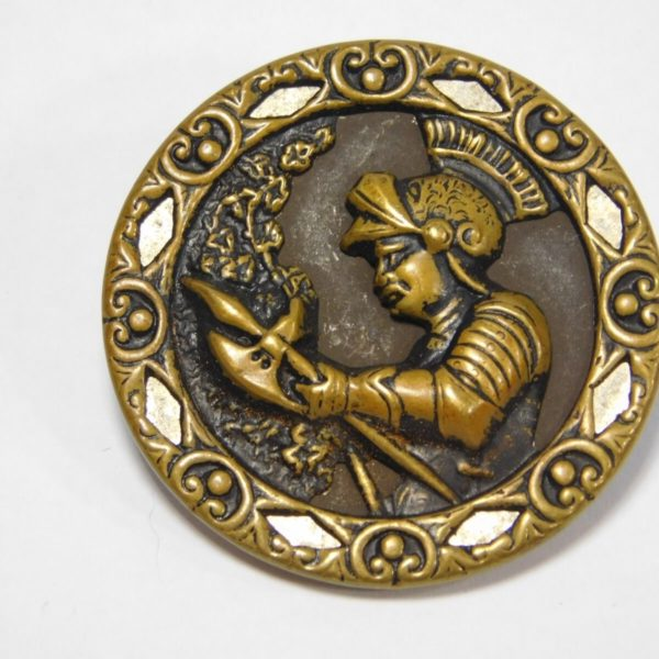 """Atq Brass Metal Embossed Picture Button KNIGHT FAIRY TALE  1 3/8"""""""