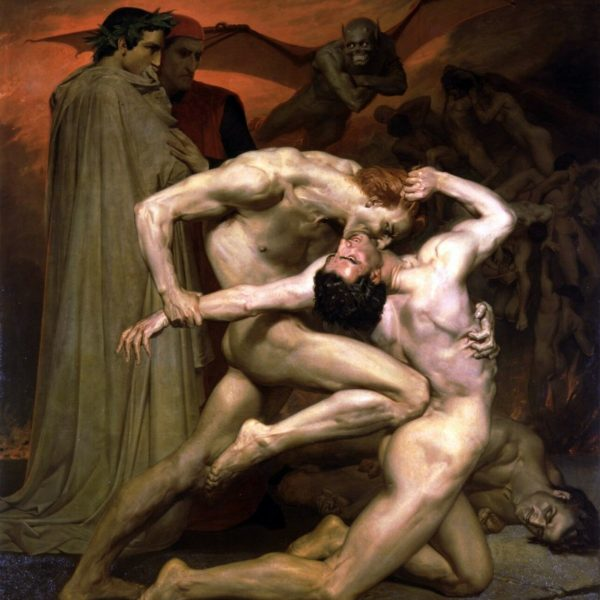"William Bouguereau, Dante & Virgil in Hell, Nude Male, sinner,20""x16"" CANVAS ART"