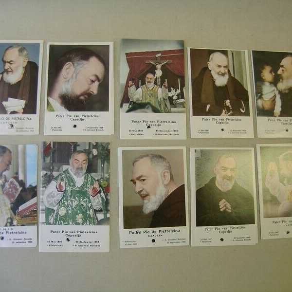 reliquary 10x holycard Saint Padre Pio with relic