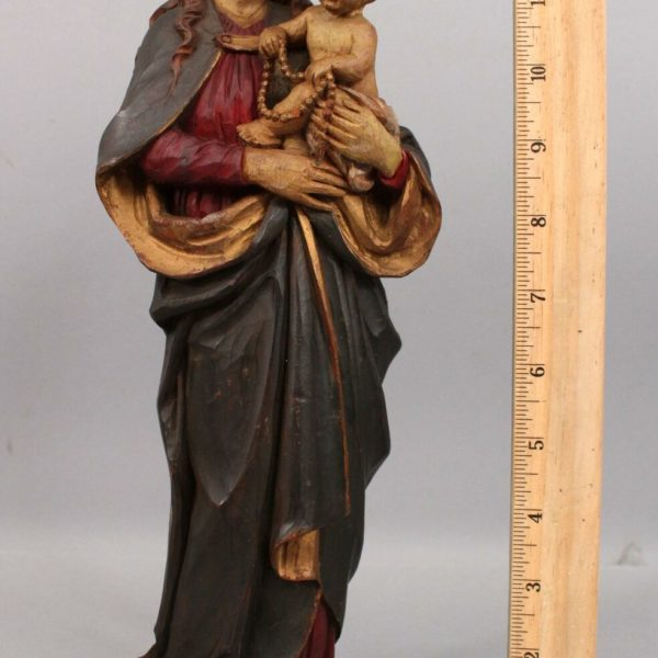 Antique Early 20thC Italian Carved & Painted Wood Mary & Jesus Statue, NR