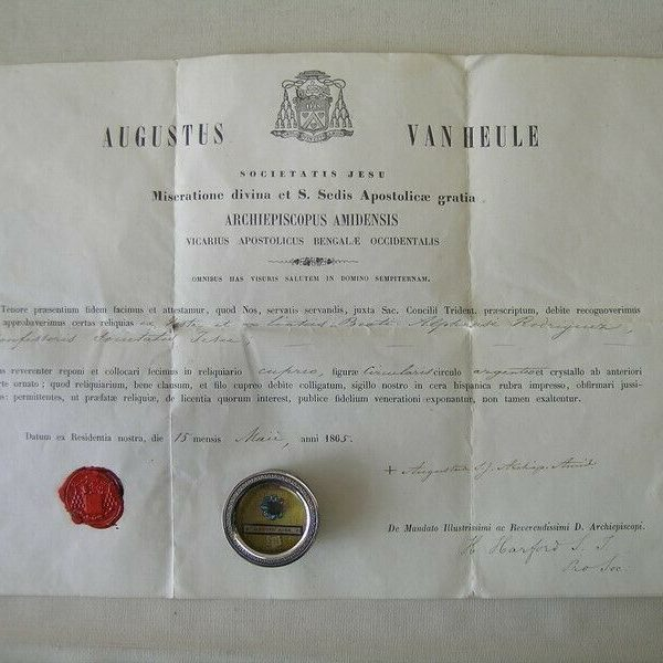reliquary Saint Alonso Rodriguez+ document 1865 (Jesuit lay-brother)
